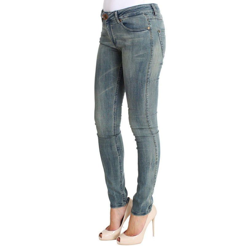 Blue Wash Cotton Stretch Skinny Slim Tight Fit Jeans PLEIN SUD
