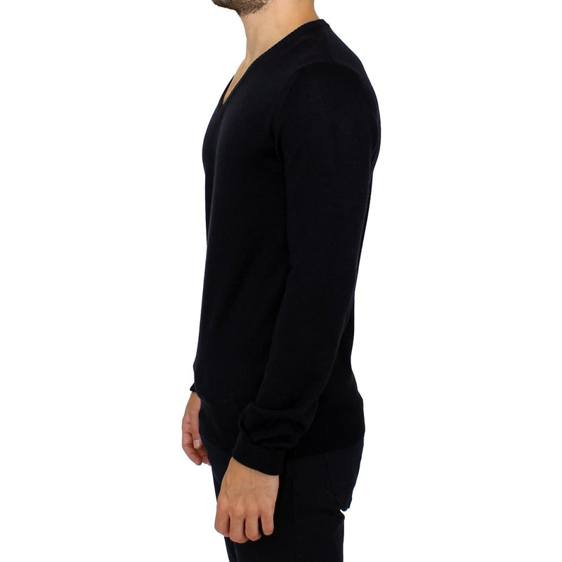 Blue Wool Blend Mens V-neck Sweater GF Ferre