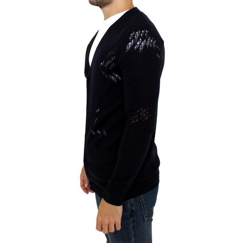 Blue wool cardigan sweater Karl Lagerfeld