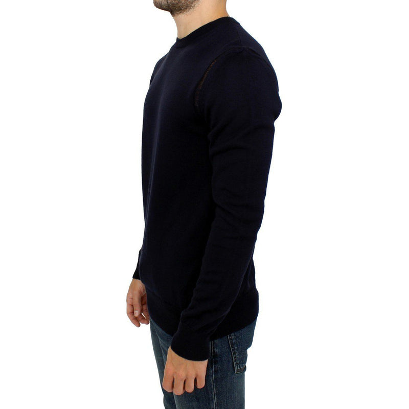 Blue wool crewneck pullover sweater Karl Lagerfeld
