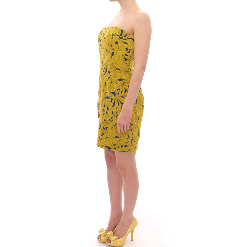 Blue Yellow Strapless Bubble Mini Shift Dress SACHIN & BABI