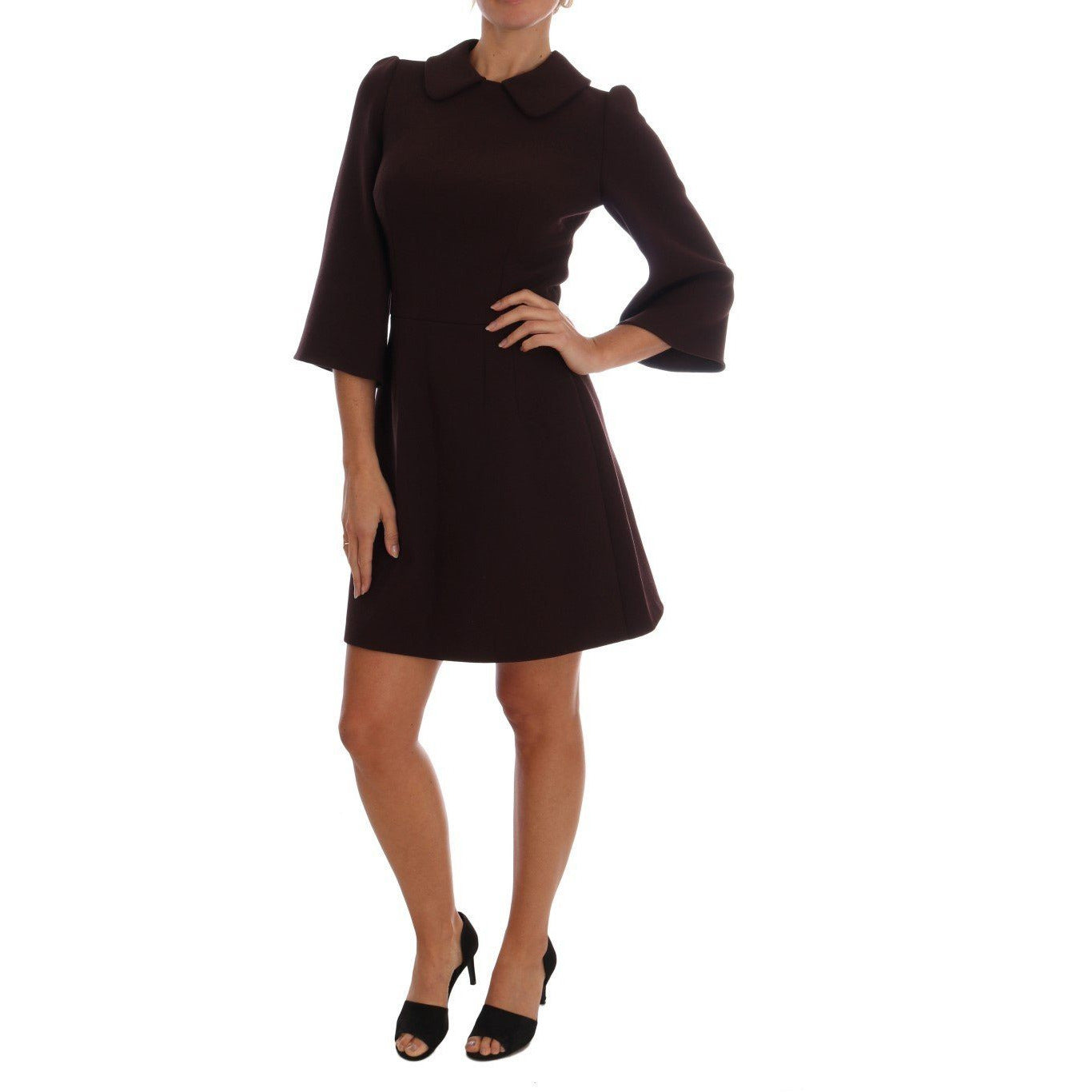 Bordeaux Stretch A-Line Shift Dress