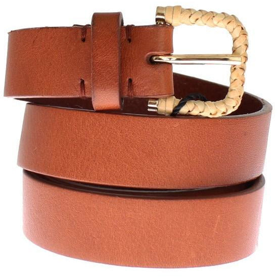 Brown Leather Gold Buckle Logo Waist Belt Dolce & Gabbana