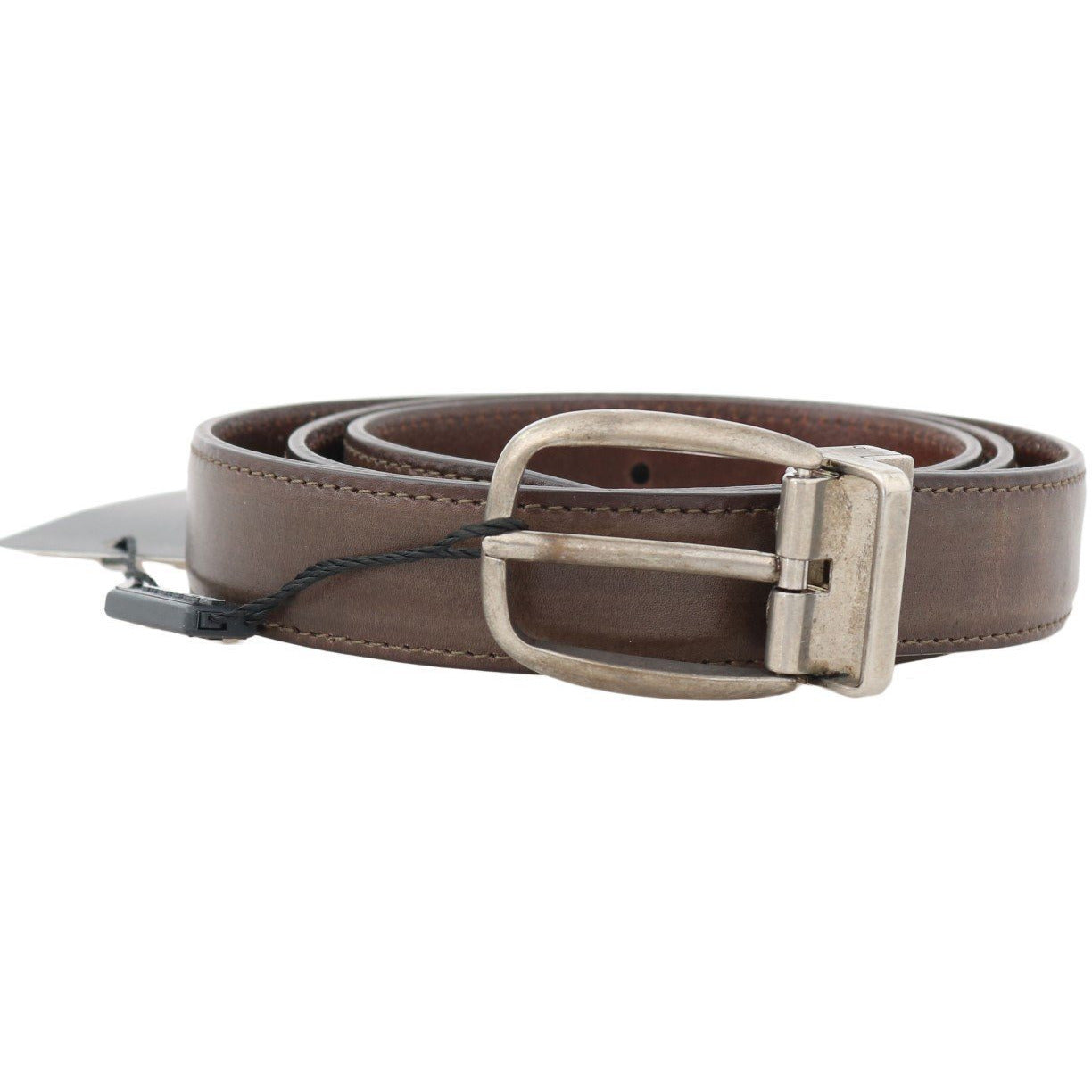 Brown Leather Gray Brushed Buckle Belt Dolce & Gabbana