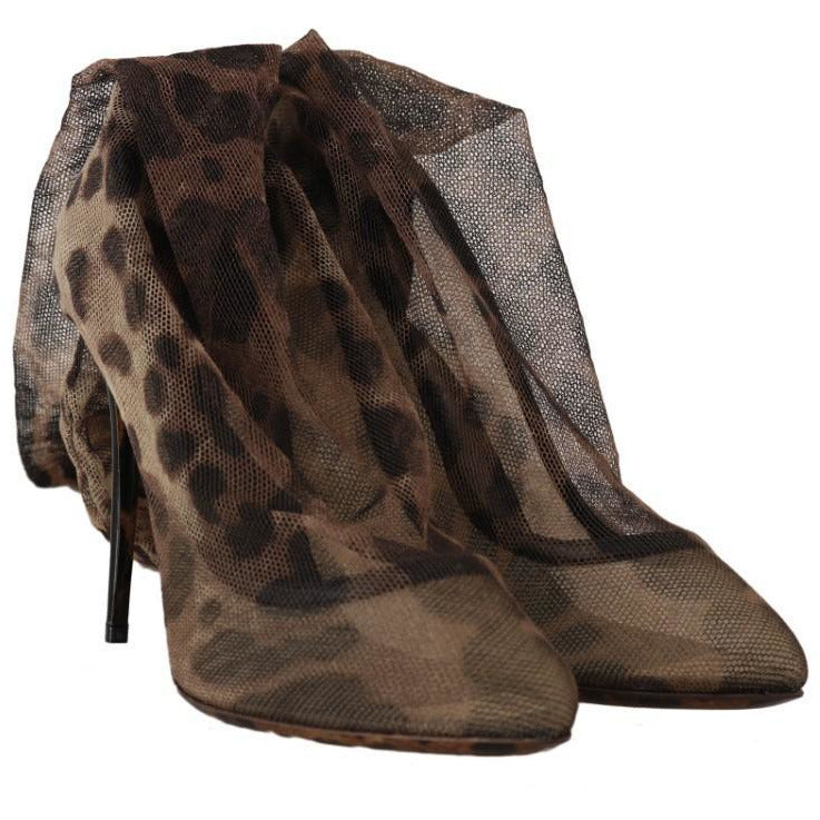Brown Leopard Tulle Pumps Boots Dolce & Gabbana