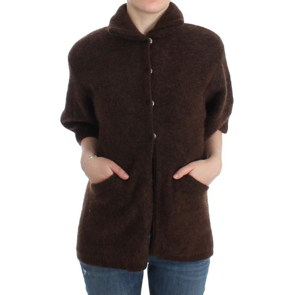Brown mohair knitted cardigan Cavalli