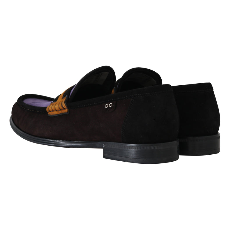 Brown Purple Suede Moccasins Loafers Dolce & Gabbana