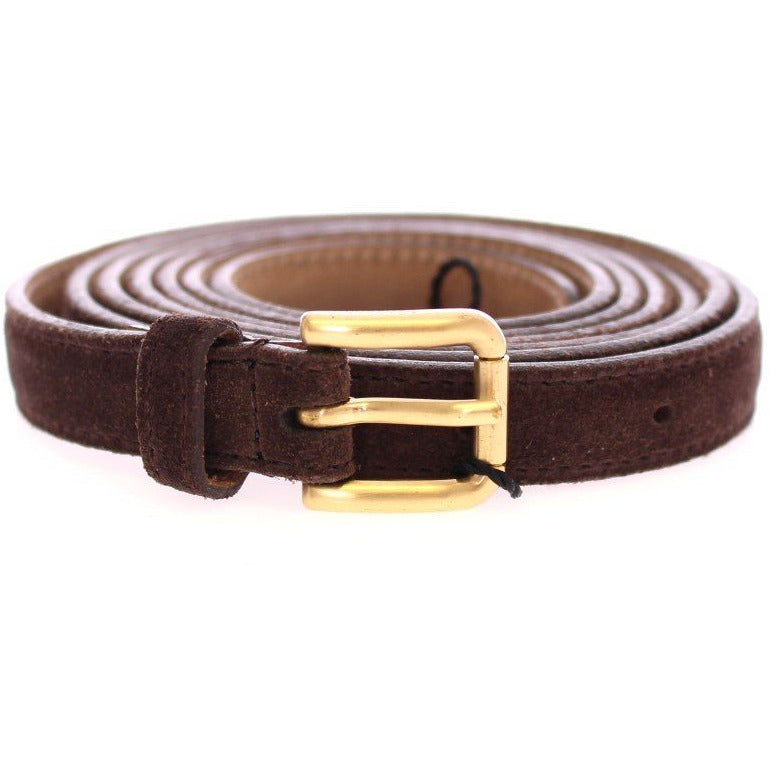 Dolce & Gabbana Brown Suede Leather Logo Belt