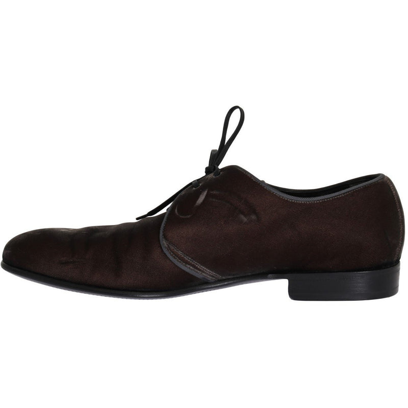 Brown Viscose Dress Laceups Formal Shoes Dolce & Gabbana
