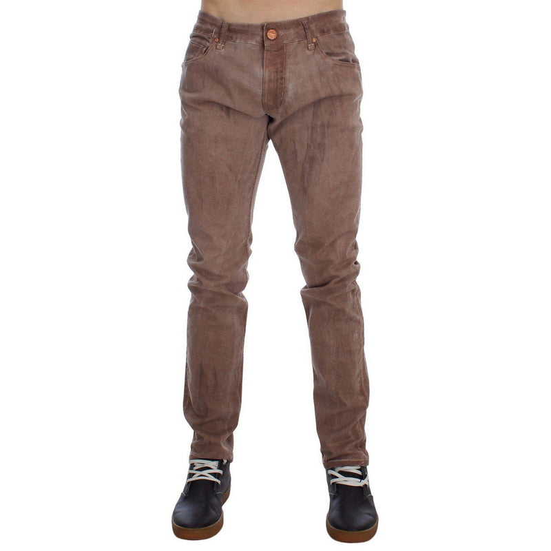 Brown Wash Cotton Stretch Slim Fit Jeans ACHT
