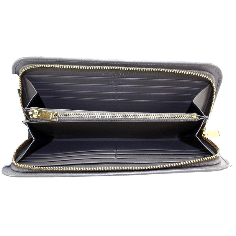 Classic Saint Laurent YSL Women's Gray Grained Leather Full Zip Wallet 326599