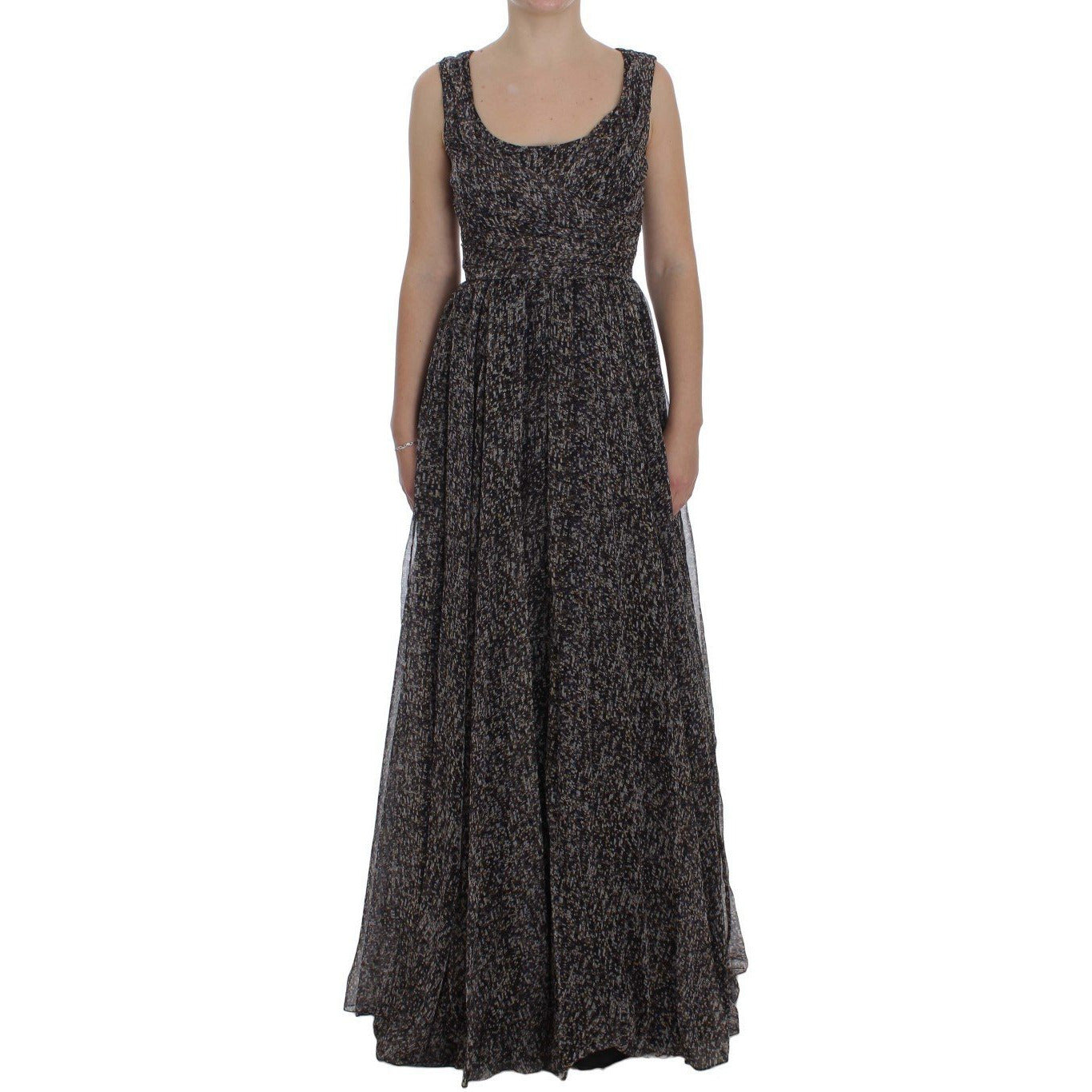 Dolce & Gabbana Dark Silk Shift Gown Full Length Dress