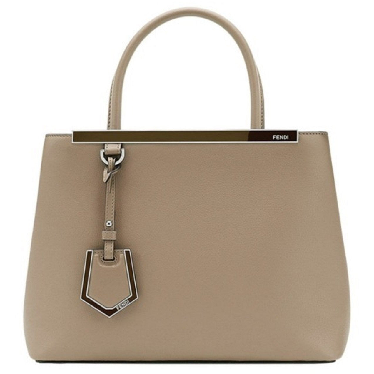 Fendi 2 Jours Dove Beige Calf Leather Shopping Tote Cross Body Handbag 8BH253