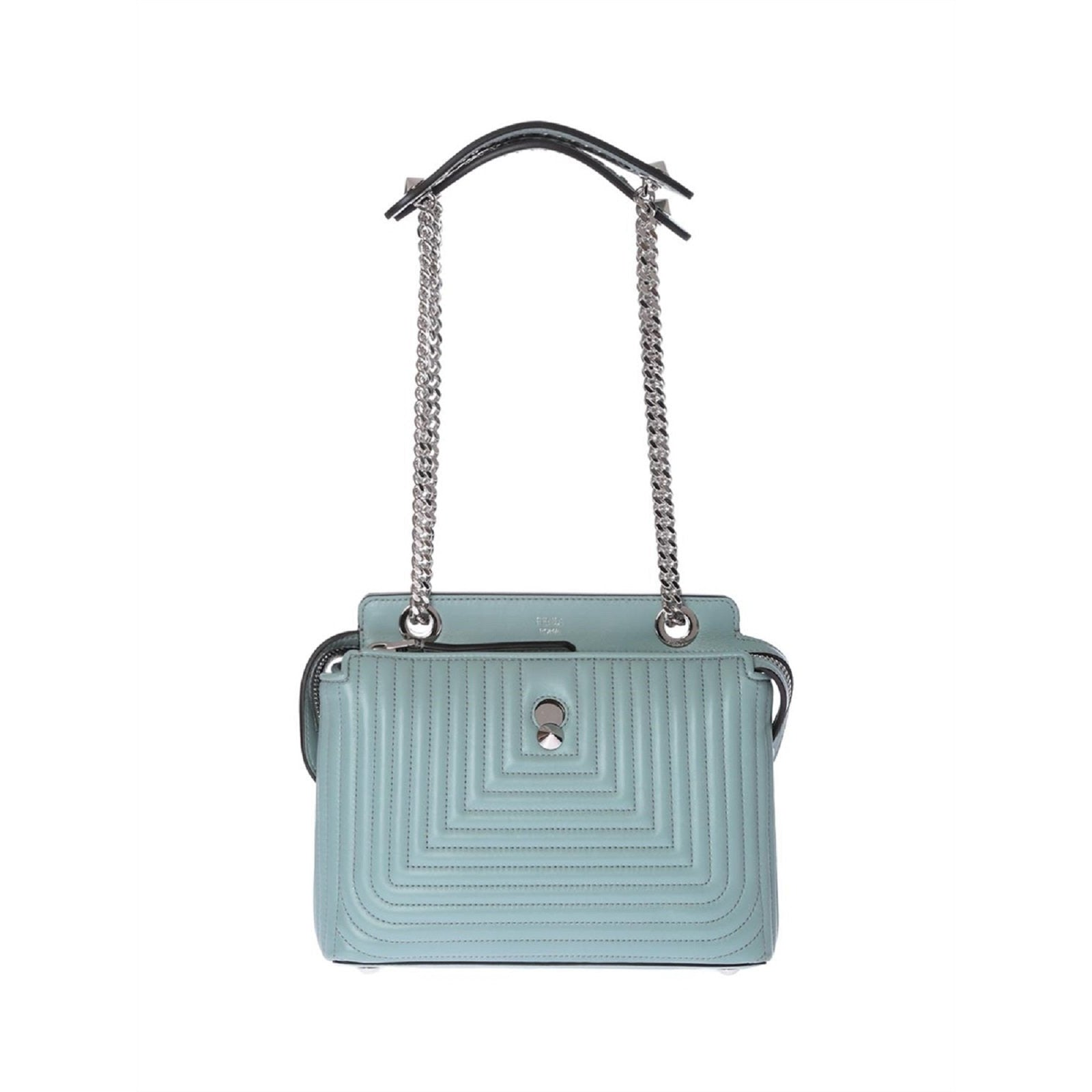 Fendi Dotcom Click Pale Blue Small Quilted Lambskin Leather Chain Satchel  8BN299