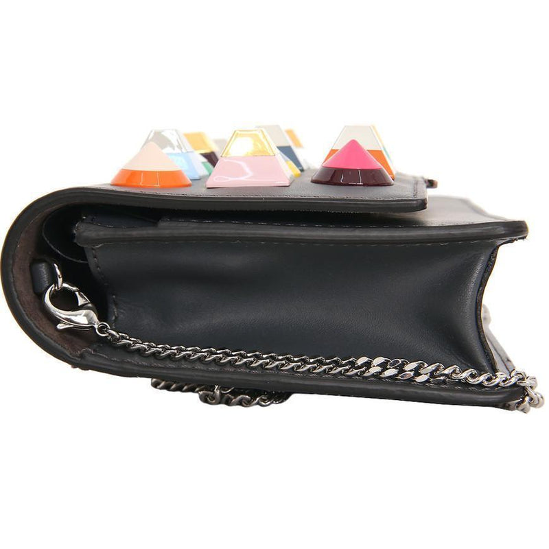 Fendi Mini Bag Clutch Asphalt Gray Leather Multicolor Studs Luxury Bag 8M0346