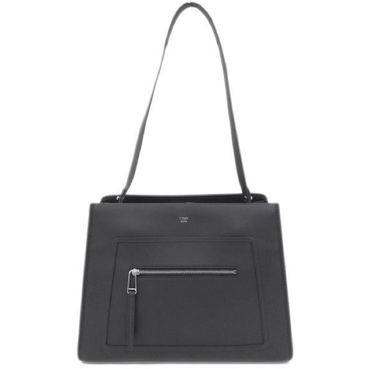 Fendi Runway Shopping Bag Calf Leather Black Palladium Metal Hardware 8BH343
