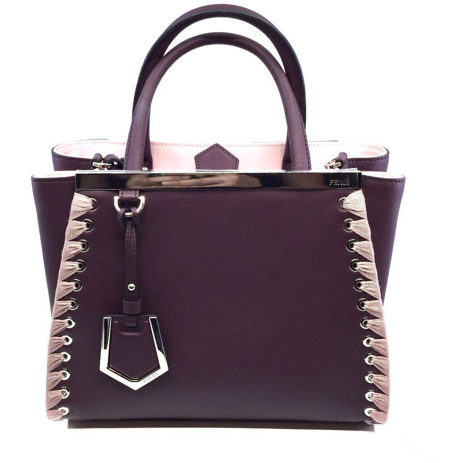 Fendi Shopping Bag 2 Jours Calf Leather Dark Red Doll Pink Trim 8BH253