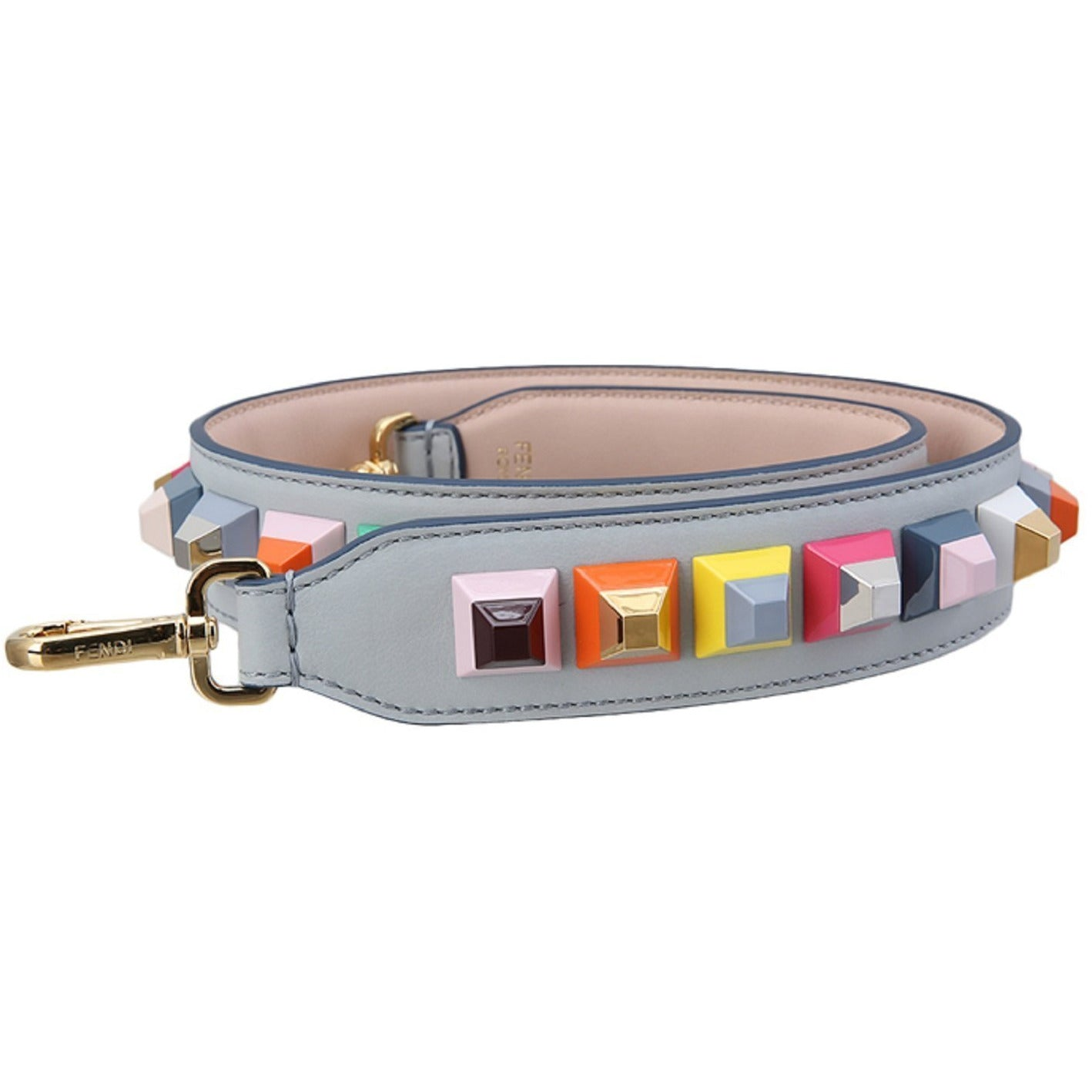 Fendi Shoulder Strap You Leather Pearl Gray Multicolor Studs 8AV077