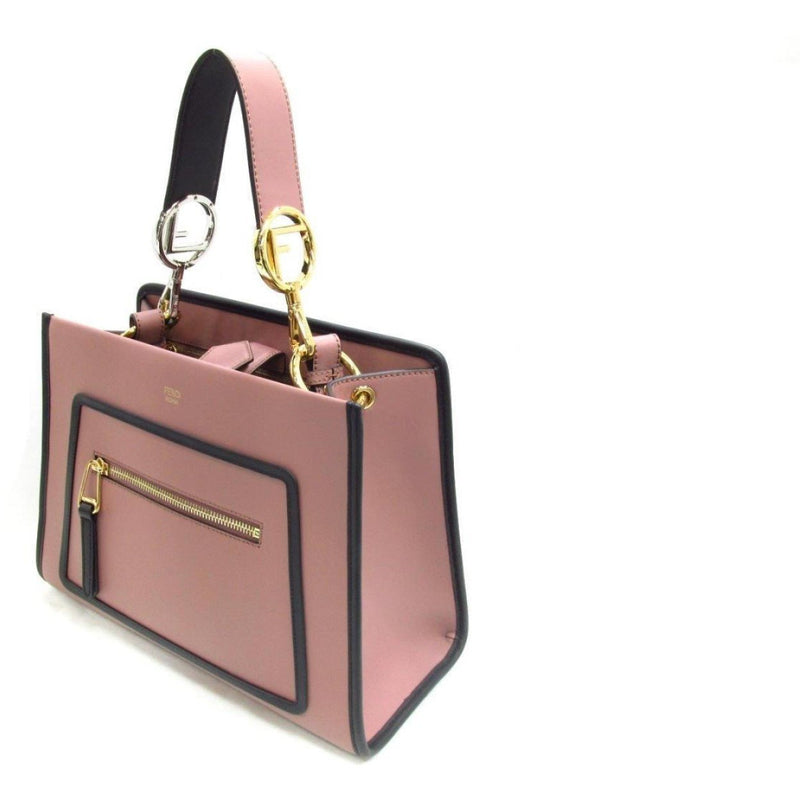 Fendi Small Shopping Bag Runaway Calf Leather Pink English Rose Black Trim 8BH344