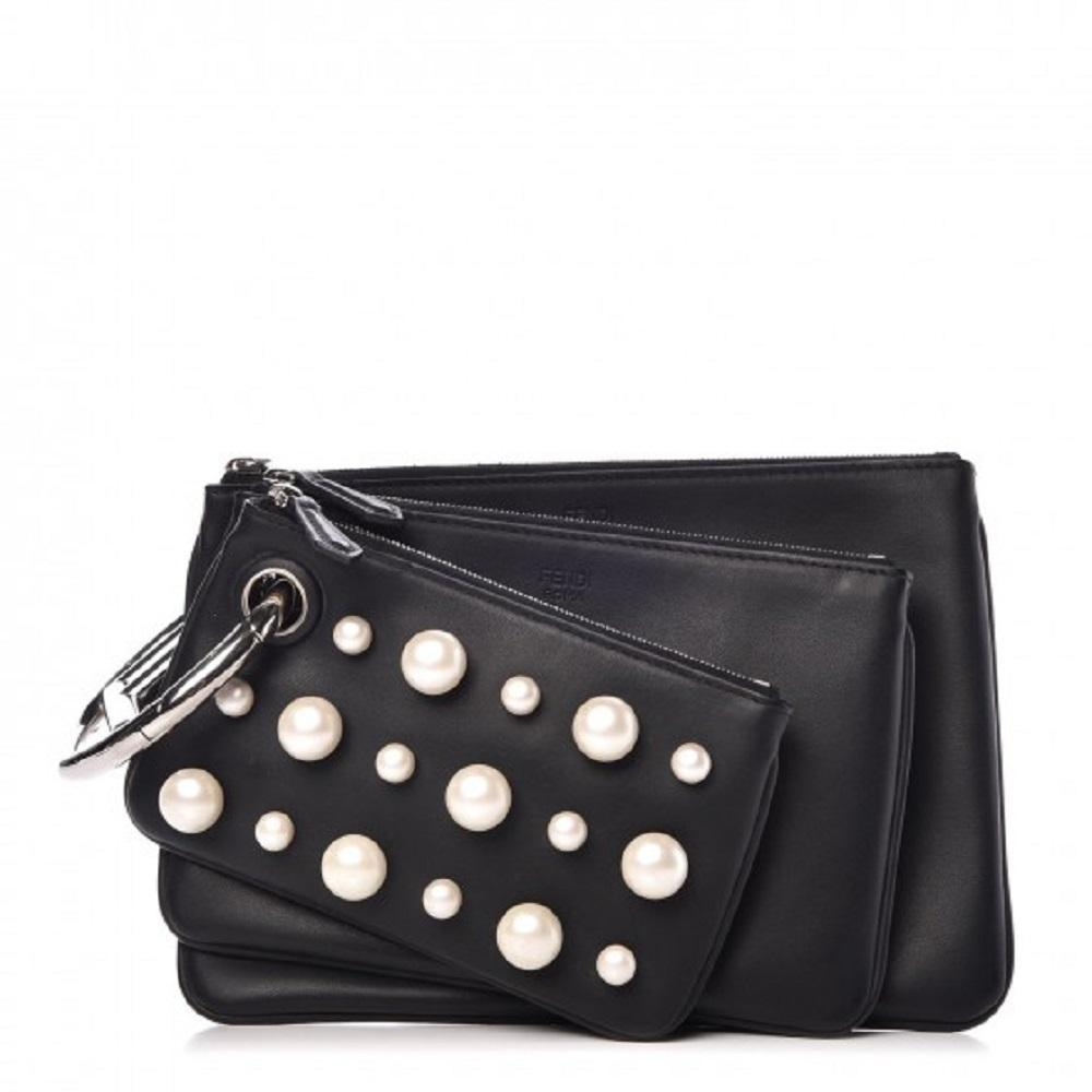 Fendi Women's Black Leather Pearl Studded Triplette Multi Clutch Handbag 8BS001