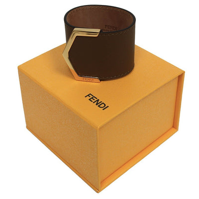 Fendi Women's Brown Leather Bangle Bracelet with Snap Closure 8AG355