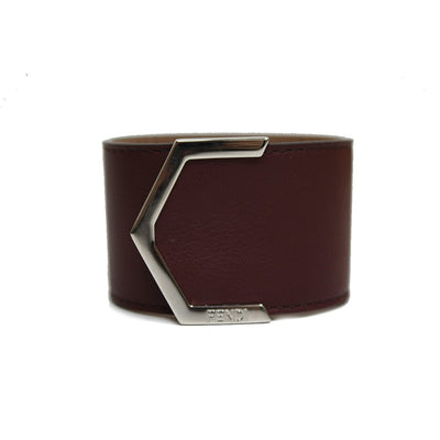 Fendi Women's Leather Red Burgundy Palladium Cuff Bracelet Gold Hardware 240015