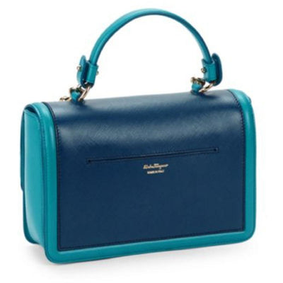 Ferragamo Beky Women's Pacific Blue Satchel  Medium Handbag Tote G328/01