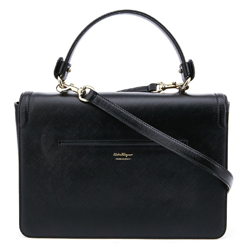 Ferragamo Seila Black Satchel Saffiano Leather Two Way Handbag F903/01