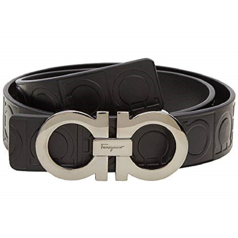 Ferragamo Size 110 Double Stamped Gancini Black Pebbled Leather Belt XE1191