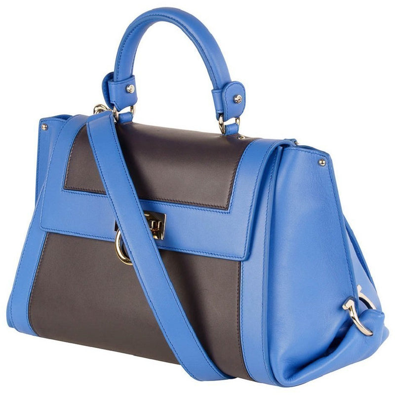 Ferragamo Sofia Calf Skin Blue Fumee Blue and Grey Medium Handbag F845/02