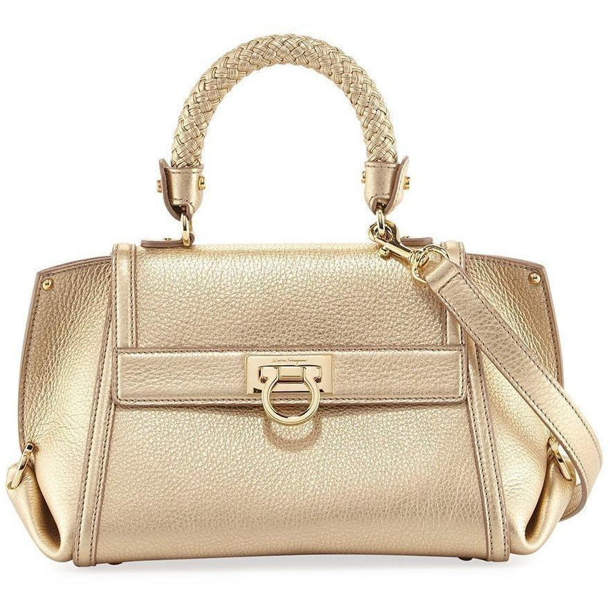 Ferragamo Sofia Women's s Metallic Gold New Bisque Leather Handbag G243/01