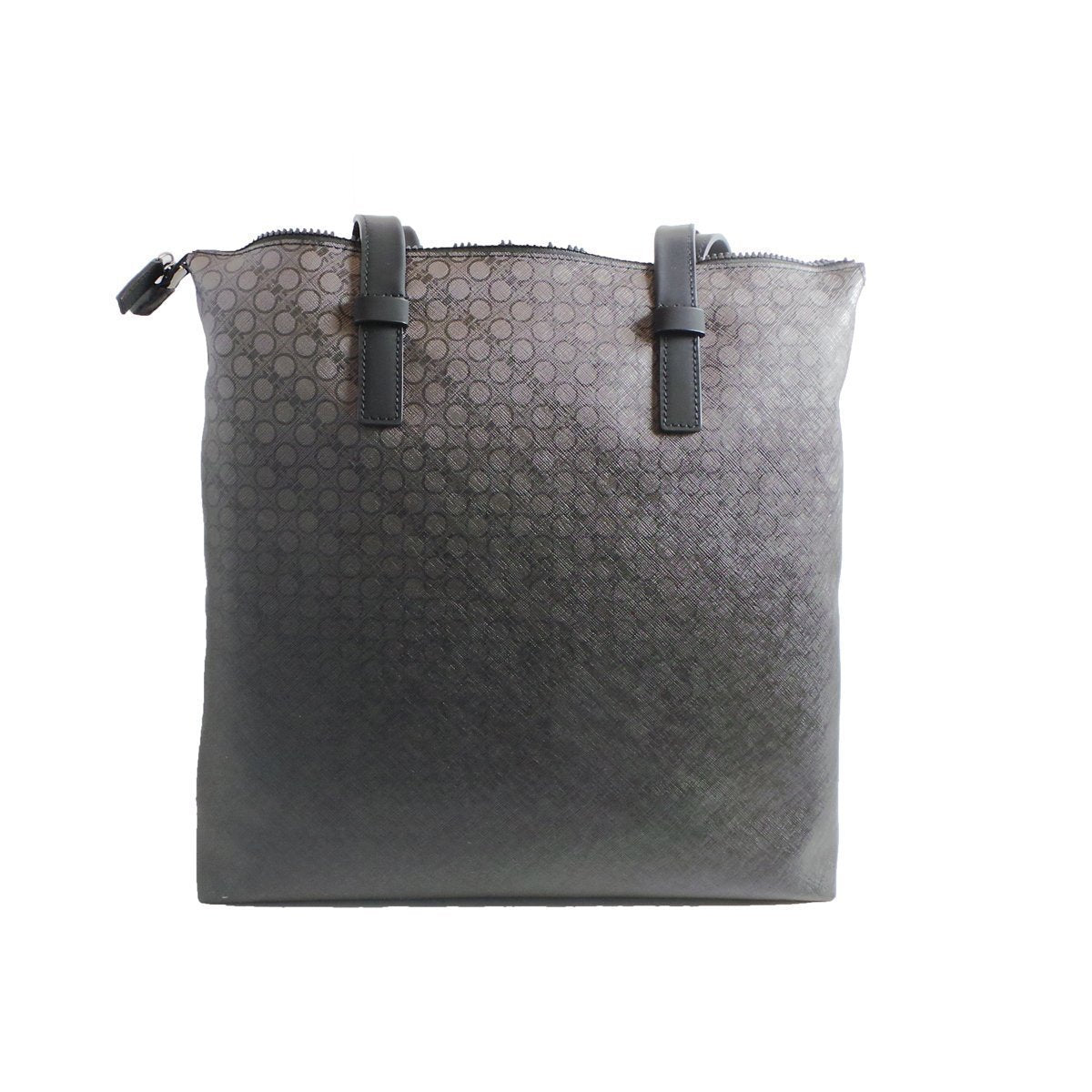 Ferragamo Black Leather Canvas Supreme Bianc Shopping Tote 0194/01
