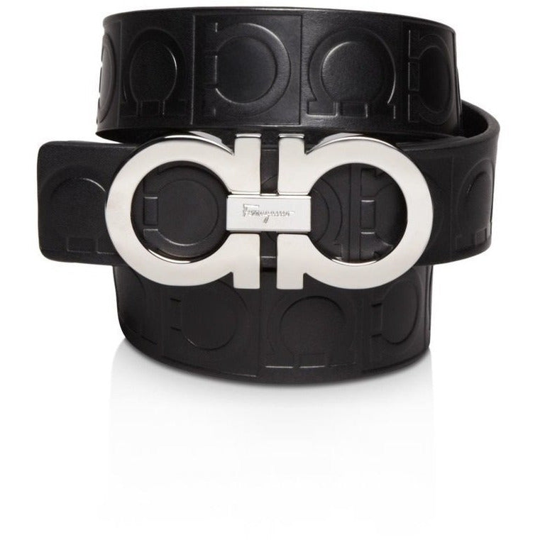 Ferragamo Unisex Size 115 Double Gancini Black Nero Pebbled Leather Belt XE1191