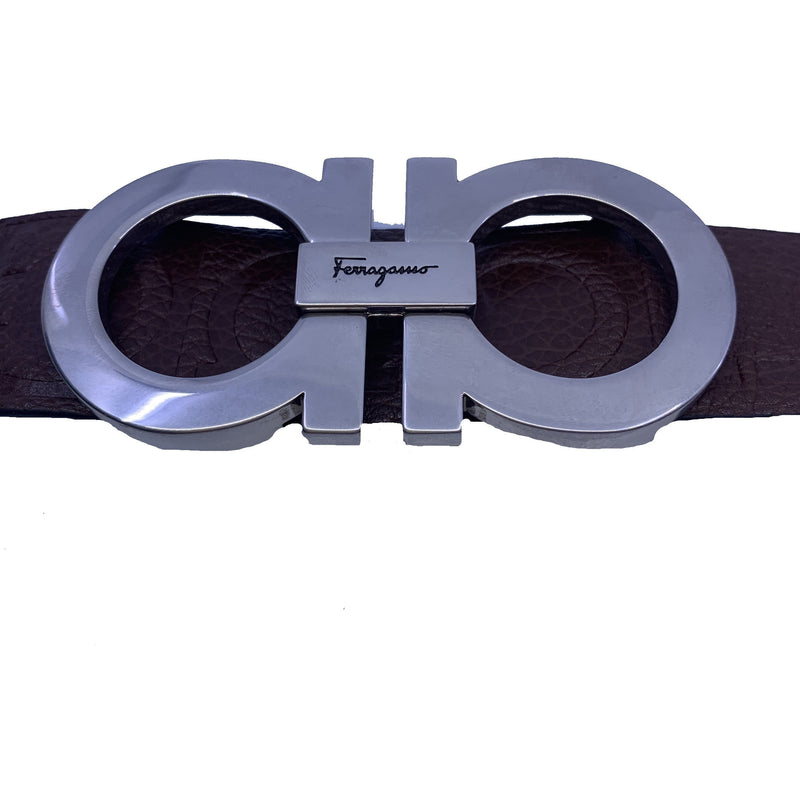 Ferragamo Unisex Size 115 Double Gancini Habana Brown Pebbled Leather Belt XE1191
