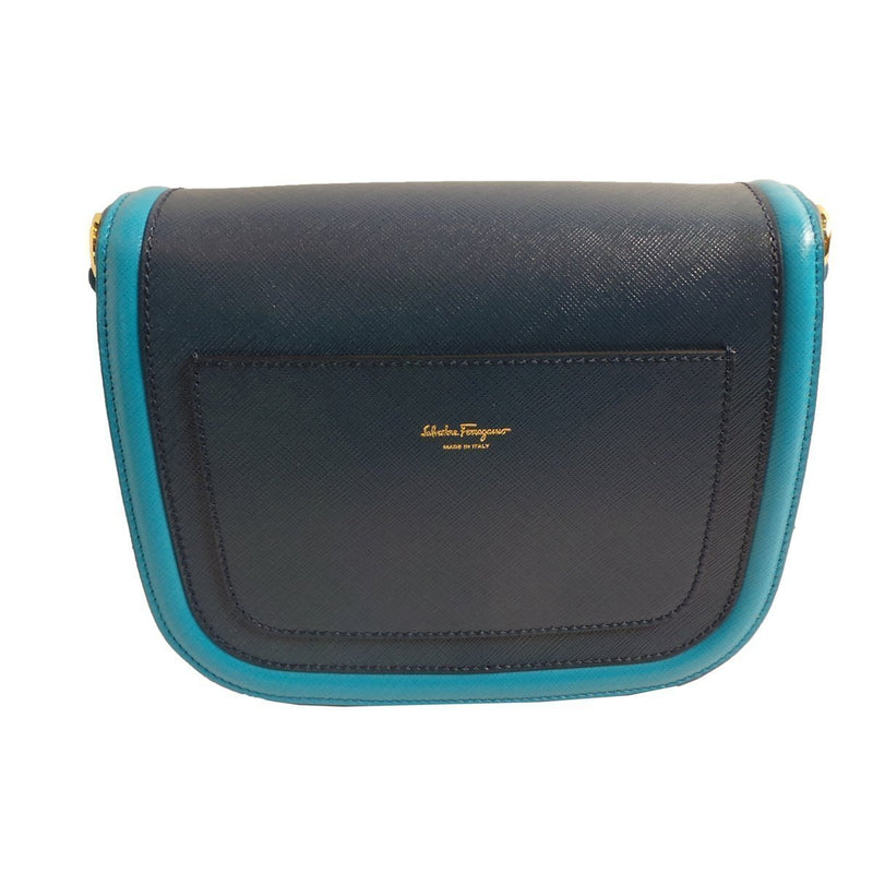 Ferragamo Women's Greta Polynese Blue Pebble Calf Crossbody G203/01