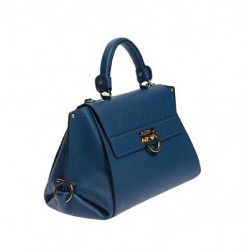 Ferragamo Women's Sofia Blue Indie Leather Shoulder Handbag F606/04