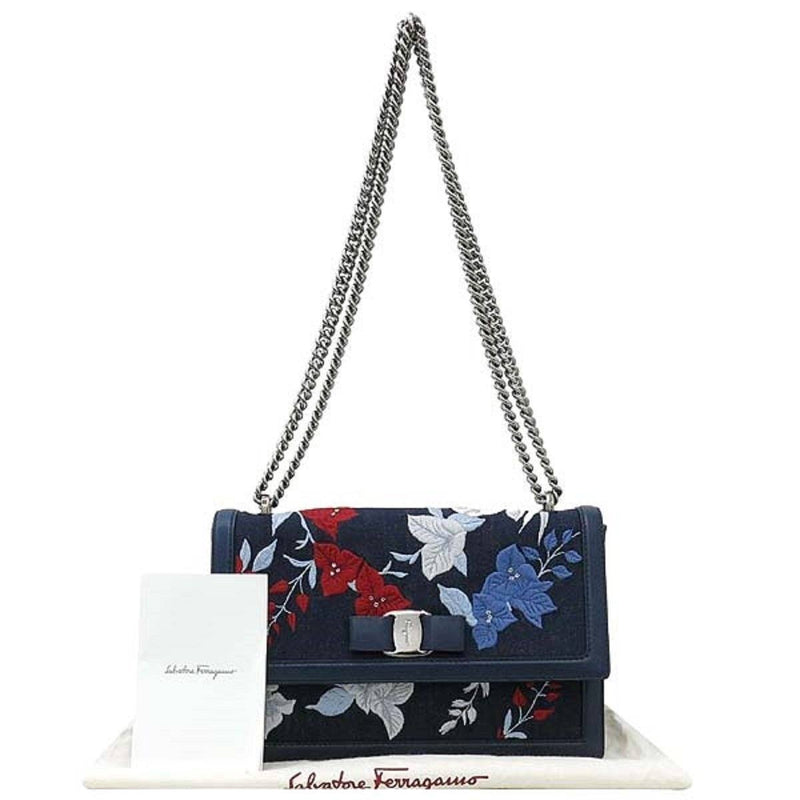 Ferragamo Women's Denim Ginny Floral Embroidered Shoulder Handbag G470/01 Handbags Ferragamo