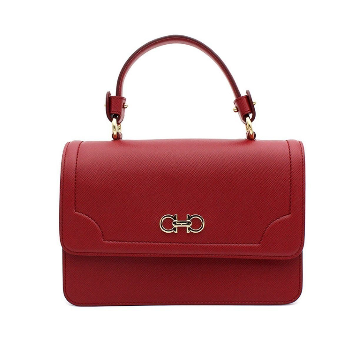 Ferragamo Women's Red Seila Pamplona Pebble Calf Handbag F966/3 Handbags Ferragamo