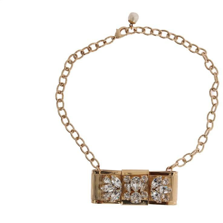 Gold Brass Clear Crystal Bow Necklace Dolce & Gabbana