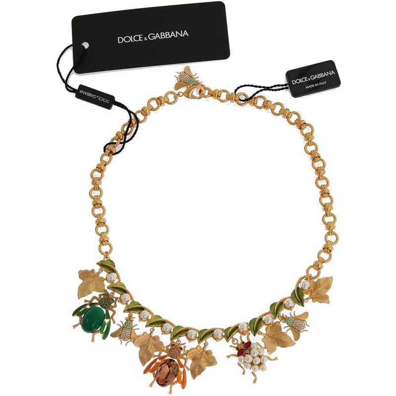 Gold Brass Crystal Insect SICILY Charms Necklace Dolce & Gabbana
