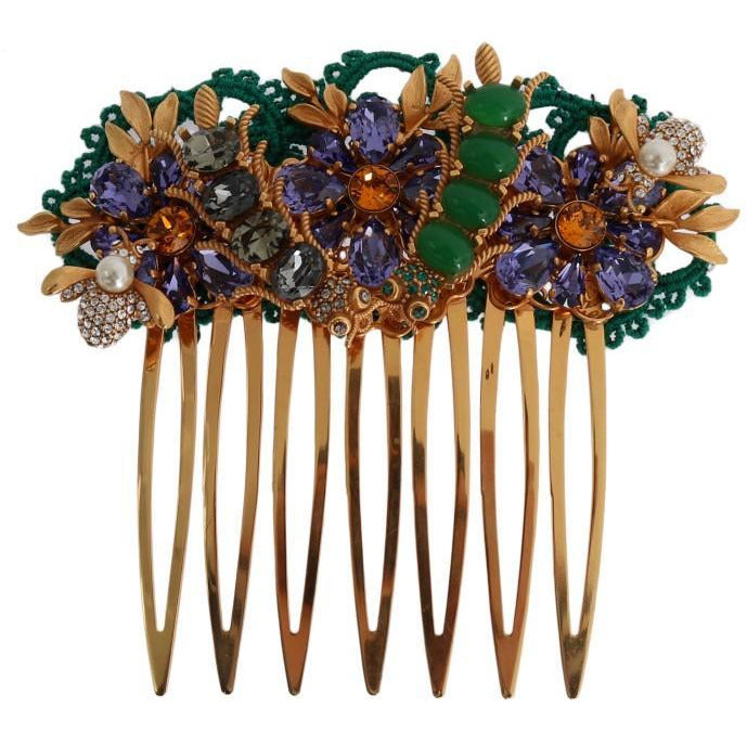 Gold Crystal Floral Fly Hair Comb Dolce & Gabbana