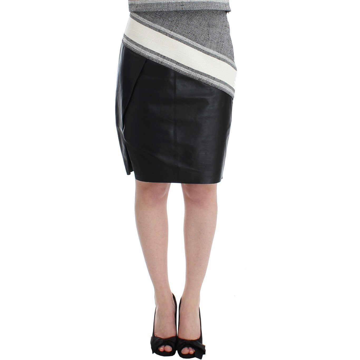 Gray Black Liza Leather Straight Pencil SACHIN & BABI
