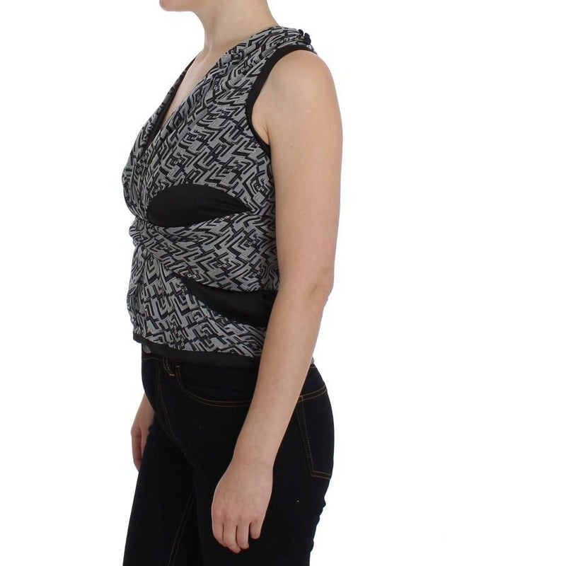 Gray Black Silk Blouse Top Karl Lagerfeld