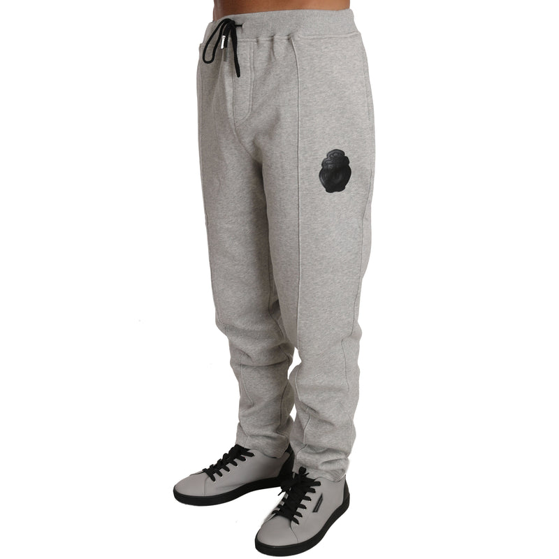 Gray Cotton Sweater Pants Tracksuit Billionaire Italian Couture