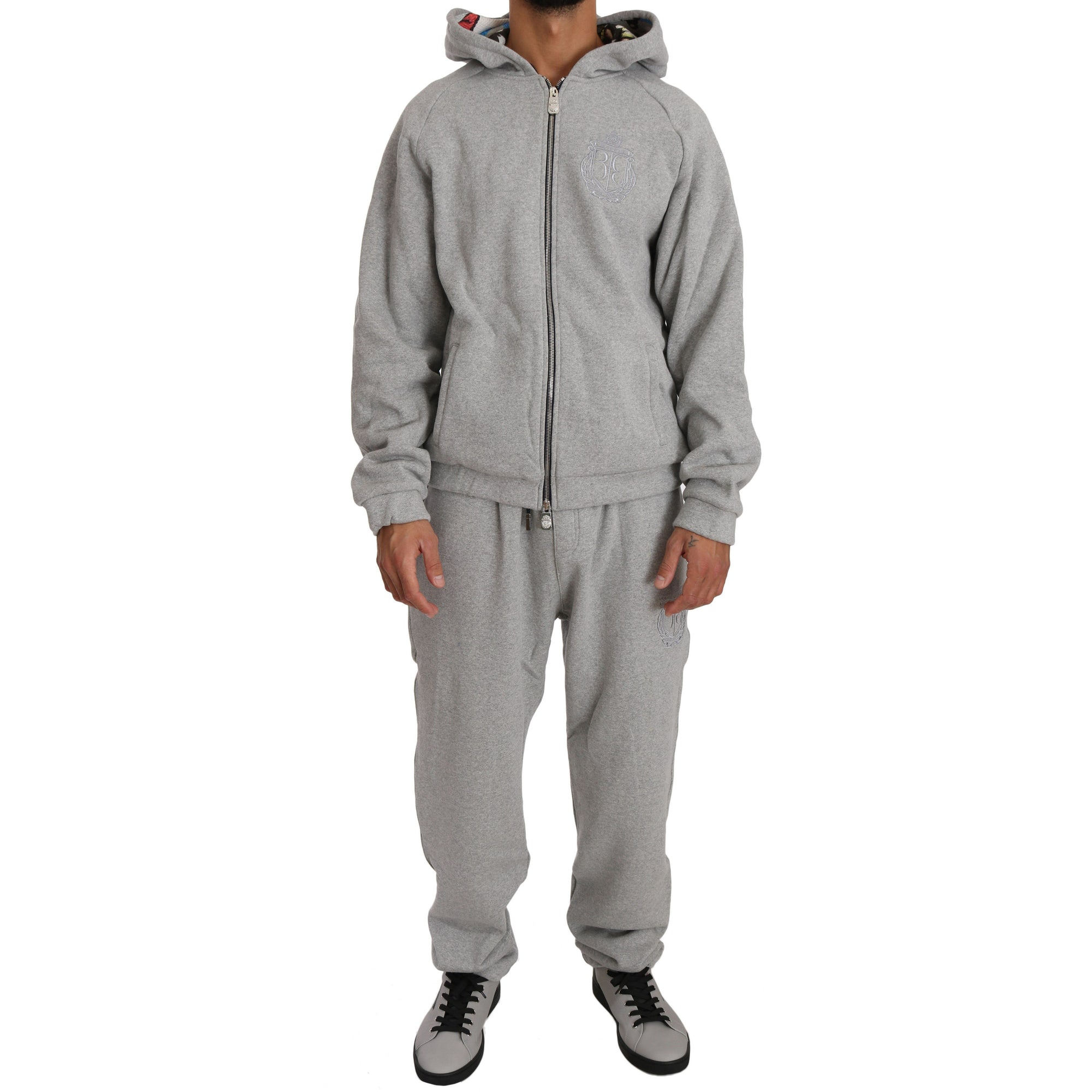 Gray Cotton Sweater Tracksuit Billionaire Italian Couture