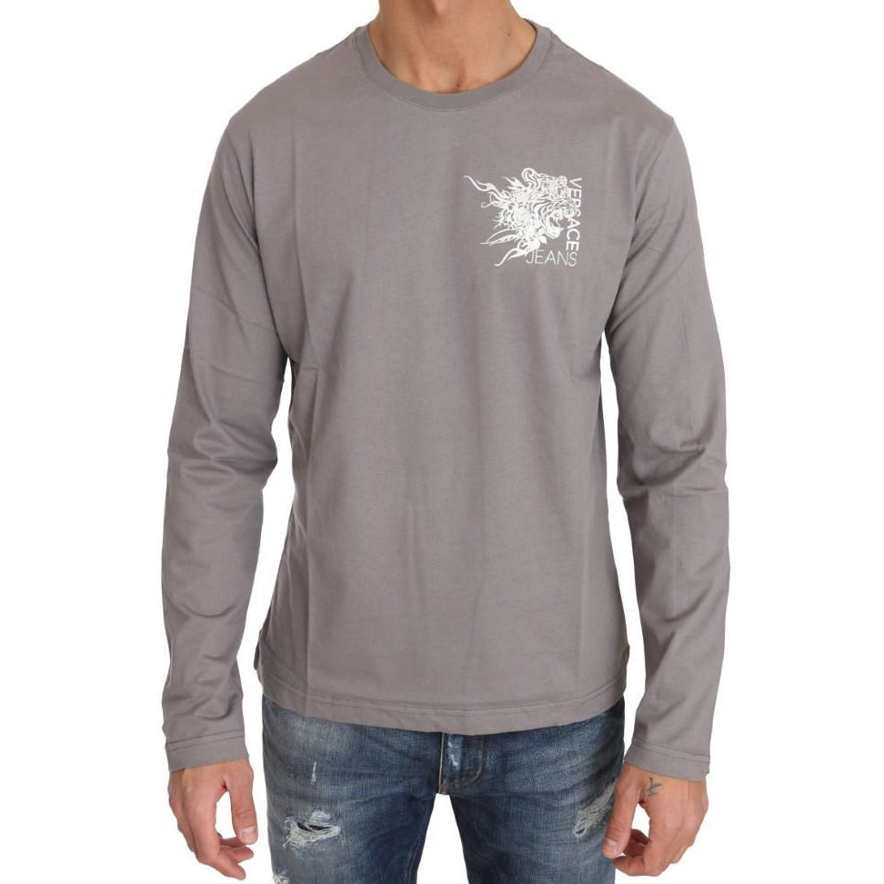 Gray Cotton White Tiger Crewneck Pullover Versace Jeans