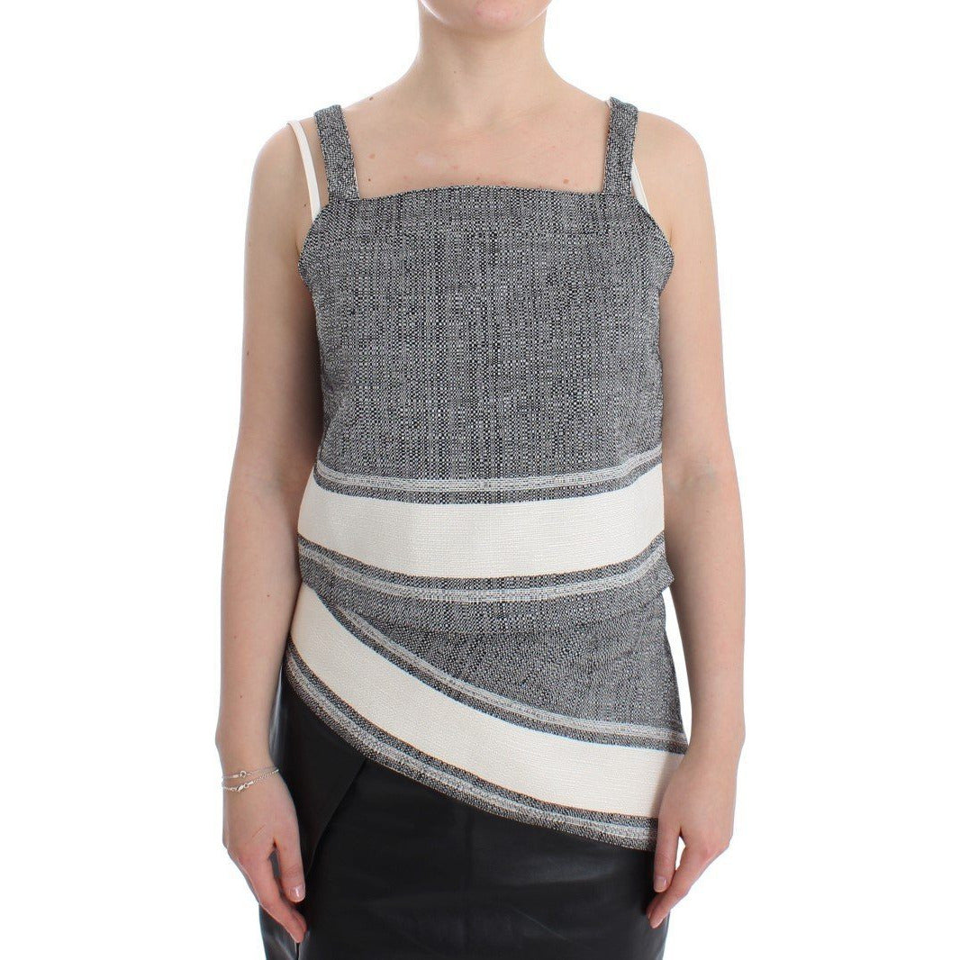 Gray Elegant Cotton Top Blouse SACHIN & BABI