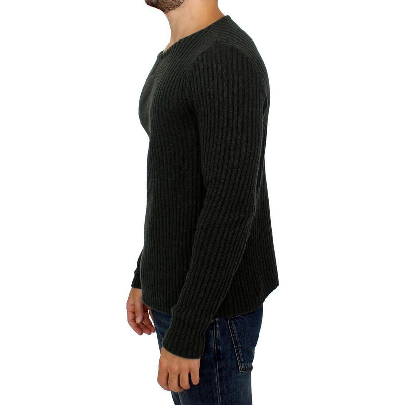 Gray Knitted Wool Blend Pullover Sweater GF Ferre