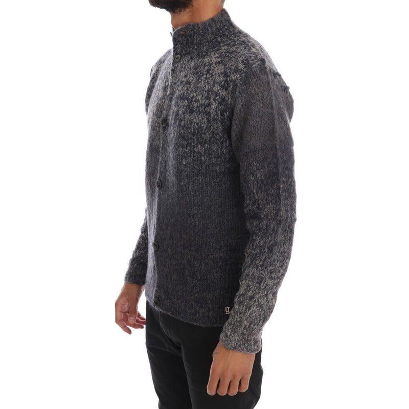 Gray Knitted Wool Button Cardigan Sweater Galliano