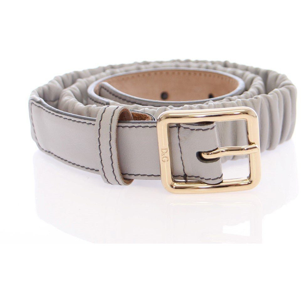 Gray Leather Logo Belt Dolce & Gabbana